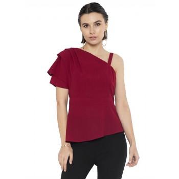 Faballey Women Casual Wear Maroon Top