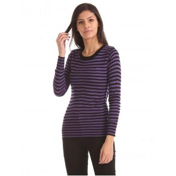 Flying Machine Women Casual Wear Striped Sweater