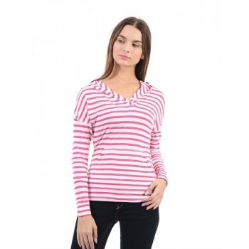 Flying Machine Women Casual Wear Striped Sweat Shirt