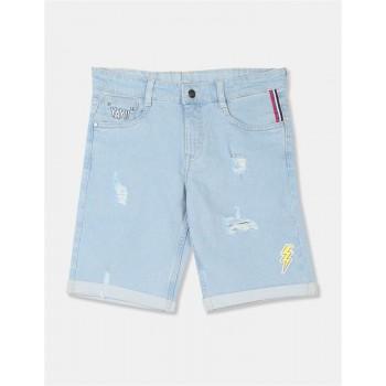 Flying Machine Boys Blue Applique Shorts