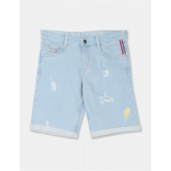 Flying Machine Boys Blue Solid Shorts