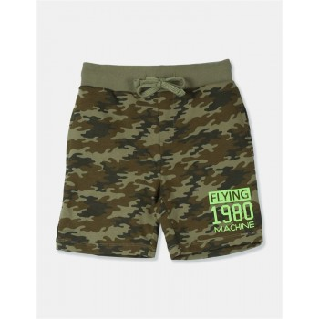 Flying Machine Boys Green Printed Shorts