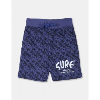 Flying Machine Boys Blue Printed Shorts