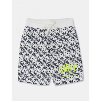 Flying Machine Boys White Printed Shorts