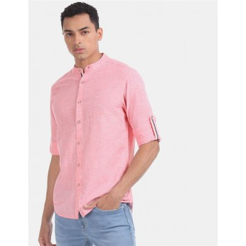 Flying Machine Men Heathered Casual Wear Shirt
