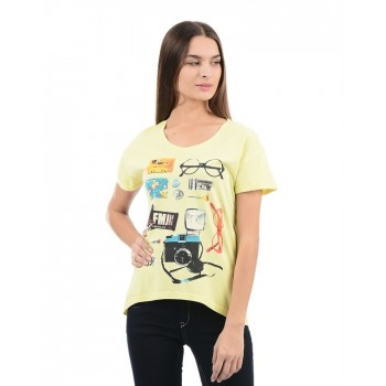 Flying Machine Women Casual Wear Graphic Print T-shirt