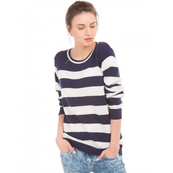 Flying Machine Women Casual Wear Striped Sweater