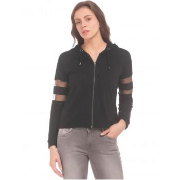 Flying Machine Women Casual Wear Solid Sweatshirt