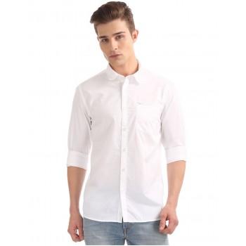 Flying Machine Men Casual Wear Solid Shirt