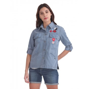 Flying Machine Women Casual Wear Solid Shirt