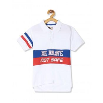 Flying Machine Boys White Printed T-Shirt