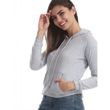 Flying Machine Women Casual Wear Solid Sweatshirt