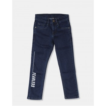 Flying Machine Boys Blue Printed Jeans