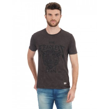 Flying Machine Men Casual Wear Chest Print T-Shirt