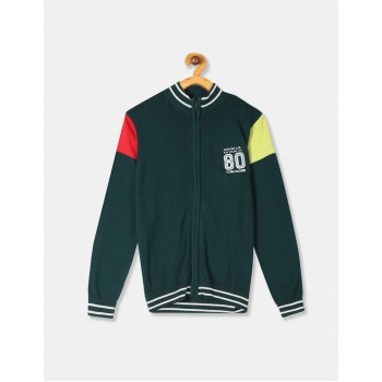 Flying Machine Boys Green Solid Cardigan
