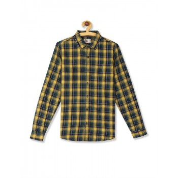 Flying Machine Boys Yellow Checkered Shirt