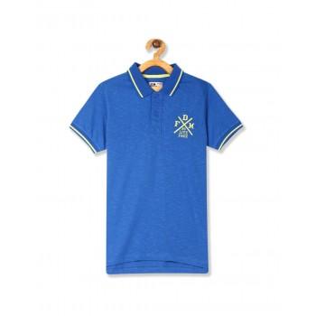 Flying Machine Boys Blue Solid T-Shirt