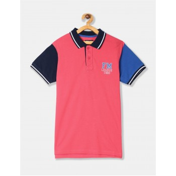 Flying Machine Boys Pink Color Block T-Shirt