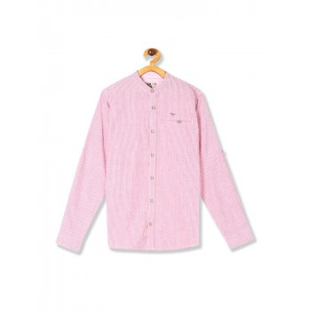 Flying Machine Boys Pink Striped Shirt