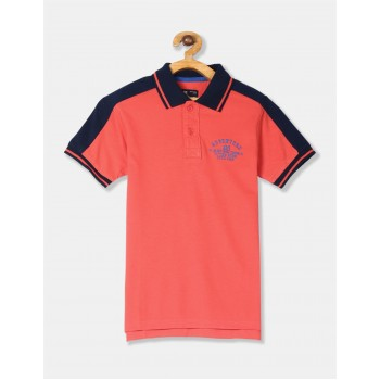 Flying Machine Boys Orange Solid T-Shirt