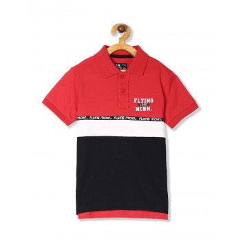Flying Machine Boys Red Solid T-Shirt
