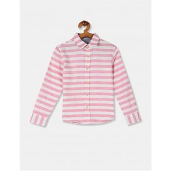 Flying Machine Boys Pink Striped Shirt