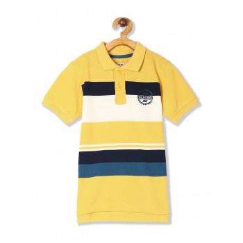 Flying Machine Boys Yellow Striped T-Shirt