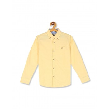 Flying Machine Boys Yellow Solid Shirt