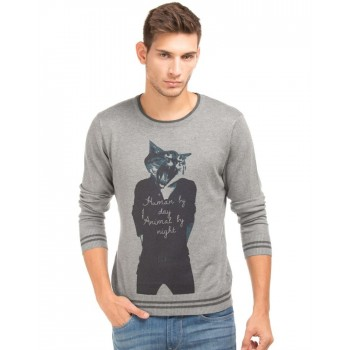 Flying Machine Men Casual Wear Graphic Print Sweater