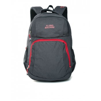 Flying Machine UniSex Dark Grey Casual Wear Backpack