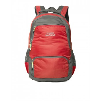 Flying Machine UniSex Red Casual Wear Backpack