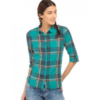 Flying Machine Women Casual Wear Checkered Shirt