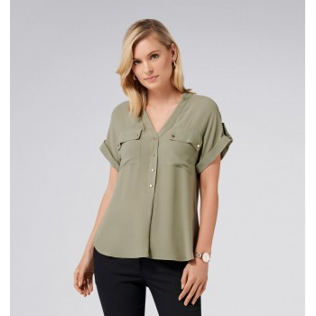 Forever New Women Casual Wear Olive Shirt