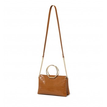 Forever New Women's Tan Sling Bag with Non Detachable Shoulder Strap