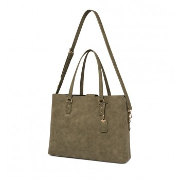 Forever New Women's Olive Laptop Bag with Detachable Shoulder Strap