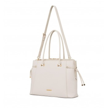 Forever New Women's White Laptop Bag with Detachable Shoulder Strap