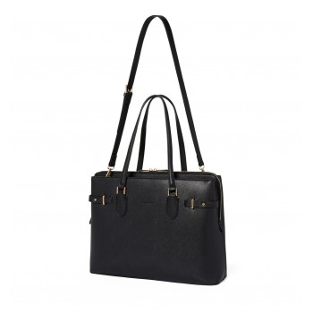 Forever New Women's Black Laptop Bag with Detachable Shoulder Strap