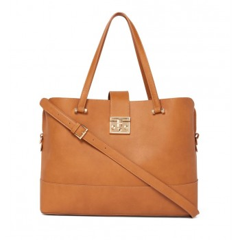 Forever New Women's Tan Laptop Bag with Detachable Shoulder Strap