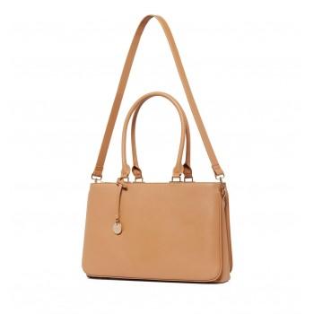 Forever New Women's Tan Laptop Bag with Detachable Shoulder Strap