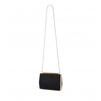 Forever New Women's Black Clutch with Detachable Shoulder Chain