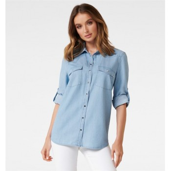 Forever New Women Casual Wear Blue Shirt