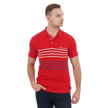French Connection Men Casual Wear Striped Polo T-Shirt