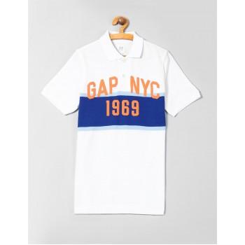 GAP Boys White Striped T-Shirt