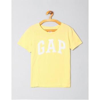 GAP Girls Yellow Embellished T-Shirt