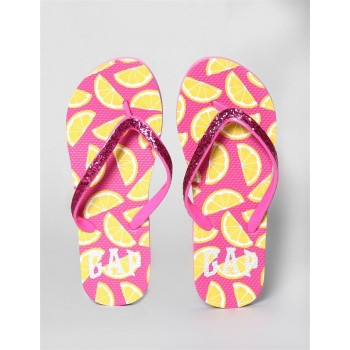 GAP Girls Pink Sequin V-Strap Printed Flip Flops