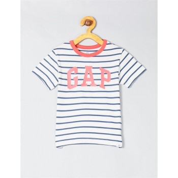 GAP Boys White Striped T-Shirt