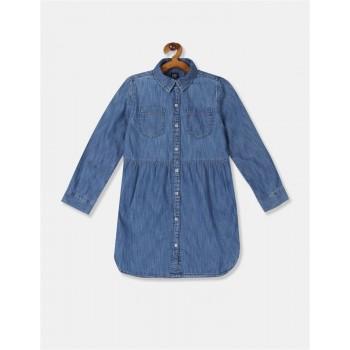 GAP Girls Blue Solid Dress