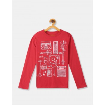 GAP Boys Red Printed T-Shirt