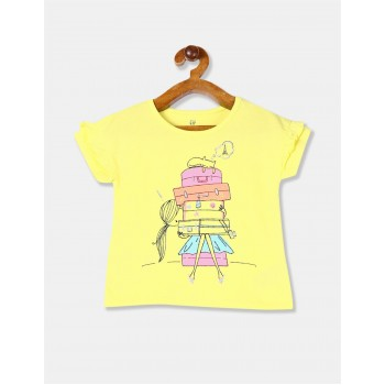 Gap Girls Yellow Printed T-Shirt