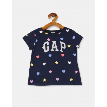 Gap Girls Blue Printed T-Shirt
